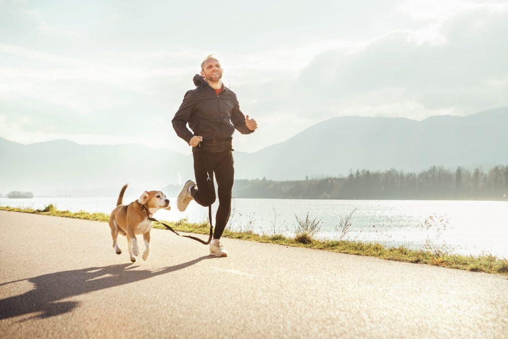 Un chien et son maître qui font de la course à pied