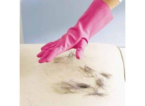Un gant en caoutchouc pour retirer les poils